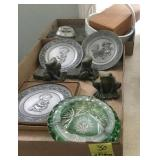 2 TRAY LOTS: PEWTER COLLECTIBLE PLATES,