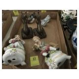 TRAY LOT: PAIR OF ANDREA FIGURINES, PAIR OF CAT