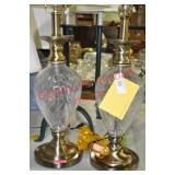 2) Crystal And Brass Table Lamps