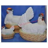 German Porcelain Hens On Nests