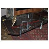 Contemporary Lucite & Glass Cocktail Table