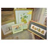 Framed Fruit Motif Decorative Prints