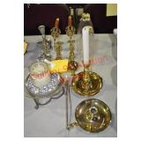 Brass and Pewter Candle Sticks and Related