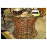 Glass Top Wicker Occasional Table