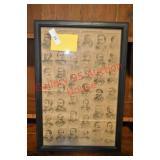 Framed Antique Engraving of Democratic Politicians
