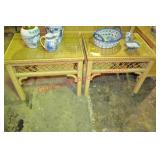 Henry Link Wicker Side Tables Pair