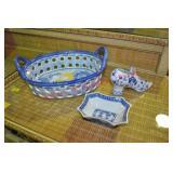 3 Piece Blue and White Transfer Porcelain