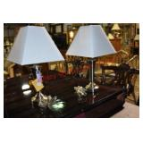 Pair Brushed Chrome Table Lamps