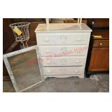 Painted Pine Chest of Drawers with Accent Mirror