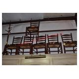 6 Painted Ladder back Chairs