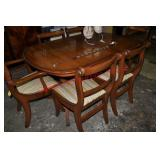 English Yew Wood Hidden Leaf Table and 6 Chairs