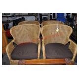 4 Metal Framed Wicker Lounge Chairs