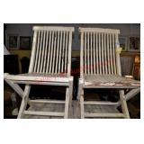 Pair of Rustic Painted Folding Chairs