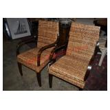 Caribbean Style Bent Wood and Wicker Side Chairs