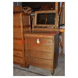 American Oak Dresser with Mirror