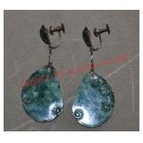 14k Y. G. Moss In Snow Jade Earrings
