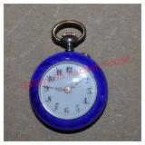 .800 Silver Gullioche Enamel Ladies Pocket Watch