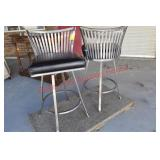 Pair of Welded Steel Bar Stools
