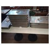 LOT OF 14 SS PANS WITH LIDS