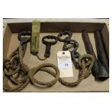 3 SETS OF BULL LEADS, BRASS MILK SCALE AND CALF