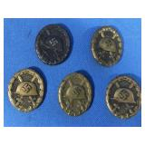 GERMAN NAZI: 5 BLACK AND BRONZE WOUNDED BADGES;