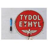 "ROUND FLYING A ""TYDOL ETHYL"" PORCELAIN SIGN"