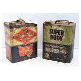 2 - 2 GALLON OIL CANS - PENN - RAD, SUPER BODY