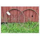 """2 - WOODEN RIM BICYCLE WHEELS (24"""")"""
