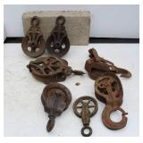 7 EARLY METAL PULLEYS & TROLLEY PARTS