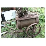 EARLY AIR COMPRESSOR W/ TANK-ON METAL CART