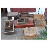 10 WOODEN CRATES - VARIOUS SIZES