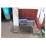 COUNTRY WARES, CAST IRON TROUGH, FOOT STOOL