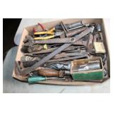 """BOX OF TOOLS - WRENCHES, SOCKETS, 2"""" TAP"""