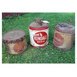 2 KENDALL OIL CANS & 1 KENDALL GREASE CAN