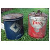 VEEDOL AND ARCO 5 GALLON CANS