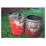 2 VEEDOL OIL CANS - ONE W/ SPOUT, GREASE CAN