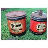 2 VEEDOL OIL CANS 5 GALLONS, BOTH OIL