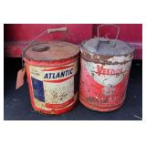ATLANTIC OIL AND VEEDOL CANS- 5 GALLON