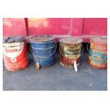 (4)  5 GALLON OIL CANS- ATLANTIC, ARCO, VEEDOL