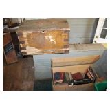 2 ANTIQUE WOODEN CHESTS FILLED WITH VINTAGE BOOKS