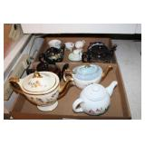 2 BOXES OF CHINA TEAPOTS, CUPS, AND SAUCERS