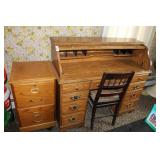 ROLL TOP DESK & 2 DRAWER  FILE CABINET NEWER STYLE