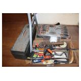 GROUPING OF MISC HAND TOOLS & TOOL BOX