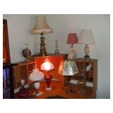LOT OF 10 LAMPS, NICE CRANBERRY SHADE,2 OIL, 8