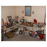 2 TABLES, TOYS, DOLLS,RADIO, PICTURES,