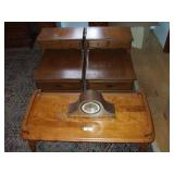 2 END TABLES, COFFEE TABLE, MANTLE CLOCK GERMAN