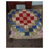 "QUILT - VINTAGE FABRIC, KNOTTED, HANDMADE, 78""X67"""