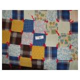 "VINTAGE QUILT, KNOTTED, HANDMADE, 88""X70"""