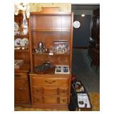 HUTCH WITH CONTENTS, SILVERPLATE, TEA POT, CHEESE