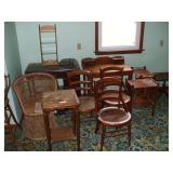 WICKER CHAIRS,- ALL NEED WORK, 2 DESKS,  3 SMALL